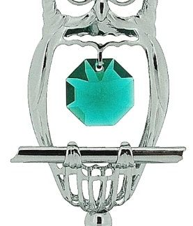 Crystocraft–Pied plaqué argent hooting Tooting Chouette avec cristaux Swarovski Elements
